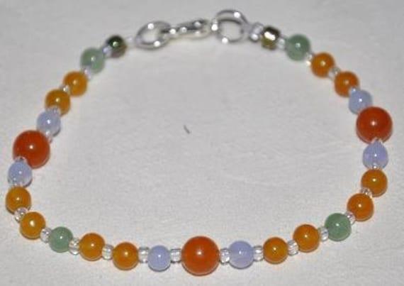 Orange Splash Semi Precious Bracelet