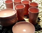Retro Pink Tumbler and Bowl Set - 16 piece