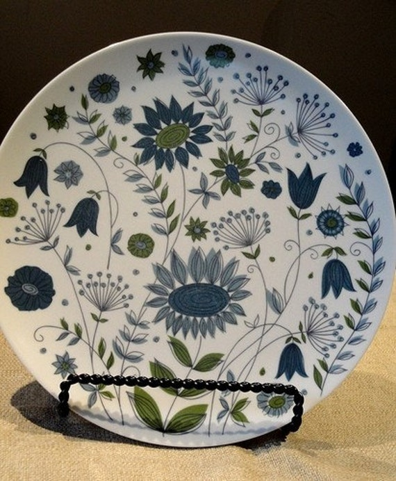 Funky Floral Blue and Green Dinner Plates