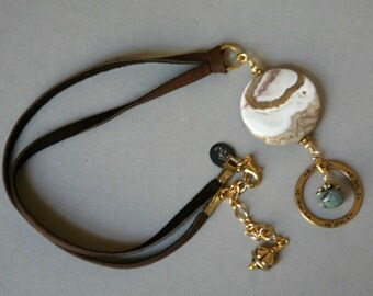 Grossular Garnet and Leather Cord Eyeglass Holder Necklace