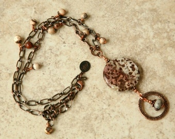 Brown Lanyard, Gemstone Lanyard, Eyegladd Necklace, Antiqued Copper, ID Lanyard, Badge Lanyard, Fancy Lanyard.Mother's Day