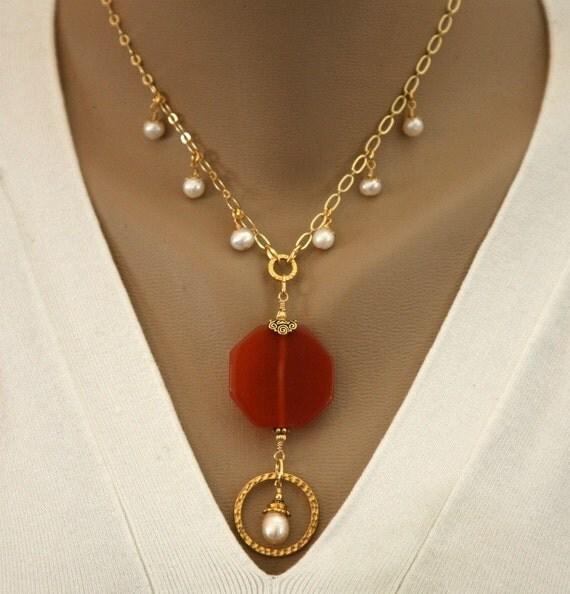 Orange Carnelian Pendant,Dangling Pearl Eyeglass Holder Necklace,ID Badge Lanyard