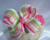 SASSYLILPRINCESSES..Stripes Boutique Bow and Interchangeable Headband