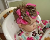 SASSYLILPRINCESSES..Double Layered Hot Pink Cheetah Boutique Bow and Interchangeable Headband