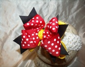 Entire Shop REDUCED....SASSYLILPRINCESSES..Triple Layered MiNnIe Girl Bow and Interchangeable Headband