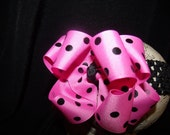 Hot Pink and Black Polka Dot Hairbow and Interchangeable Headband