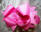 Hair Bow..Hot Pink Double Layered Spikey Hairbow with Headband..Newborn Toddler Big Girl