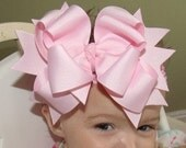 Large Triple Layered Spikey Boutique Hair Bow with headband..You Choose Color..great for Newborn Toddler Big Girl