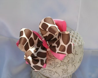 Double Layered Hot Pink and Giraffe Boutique Bow and Interchangeable Headband