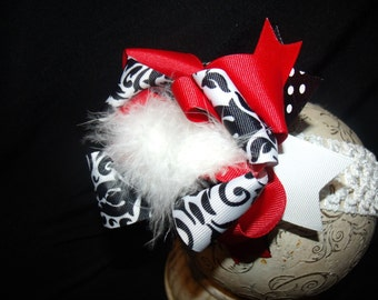 Over the Top Boutique Hairbow..Sassy Red and Scroll Bow and Interchangeable Headband..Great hairbow for Newborn Toddler and Big Girl Wear
