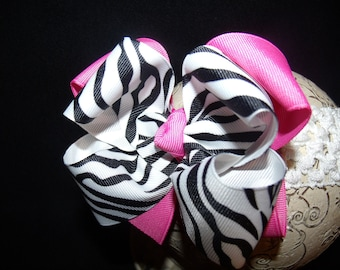 Boutique Hairbow..Hot Zebra Double Boutique Bow and Interchangeable Headband..Great for Newborn Toddler big Girl