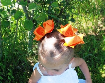 Spikey Hair Bows..Orange Princess Piggy Set..Double Layered Spikey Bow Set..great for Piggies and Twins