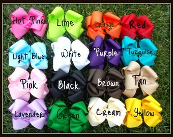 Hairbow Set..Best Deal Ever..All you need 16 and NAVY Large Double Layered Boutique Hair Bows..Great for newborn toddler big Girl