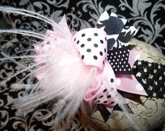 Over The Top Boutique Hairbow..Dotted Damask Spikey Layered Boutique Bow and Headband..Great for Newborn Toddler big Girl