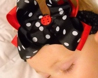 Hair Bow..Ladybug Princess Double Layered Hairbow with Headband..Great for Newborn Toddler Big girl