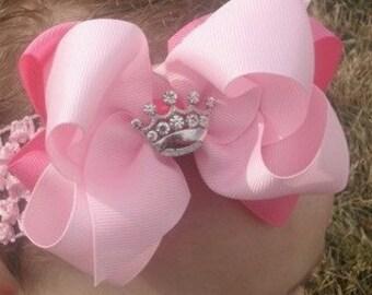 Crown Hair Bow..Precious Princess Crown Bow with headband.. You choose Colors..Newborn Toddler Big Girl