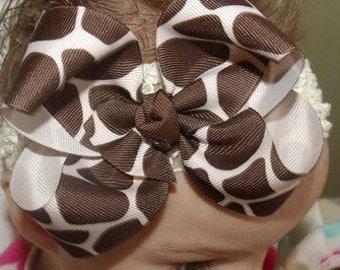 Hair Bow Giraffe Boutique Bow and Interchangeable Headband newborn toddler big girl