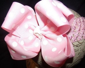 SASSYLILPRINCESSES..Double Layered Pink Dot Boutique Bow and Interchangeable Headband
