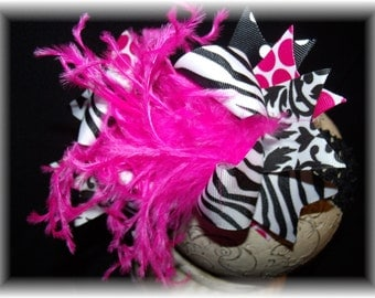 Over The Top Boutique Hairbow..Hot Zebra Spikey Layered Boutique Bow and Headband..Great for Newborn Toddler big Girl