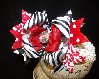 Boutique Hairbow..Zebra Spikey Layered Boutique Bow and Headband..Great for Newborn Toddler big Girl