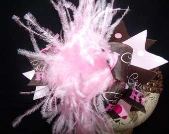 Over The Top Boutique Hairbow..Cowgirl Spikey Layered Boutique Bow and Headband..Great for Newborn Toddler big Girl