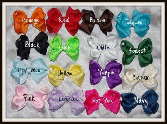 Small Hairbow Set..16 Small 2 inch Boutique Hair Bows..You pick 2 Free Headbands..Newborn Toddler Big girl Piggies and twins