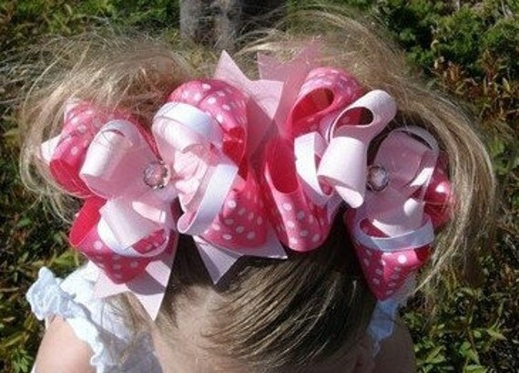 Spikey Boutique Hairbow..Big Ole Pink Kisses Spikey Layered Double Bows..Great for Newborn Toddler big Girl Twins Piggies