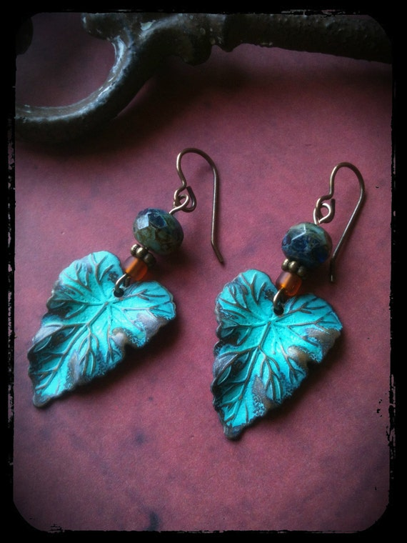 Wavy Leaf Earrings, czech glass beads, antiqued brass french style earwires
