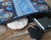 Blue Paisley Clutch, gift, mini purse, make up bag