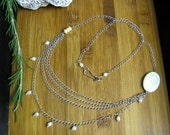 Freshwater Pearl and Mother of Pearl Chain Necklace