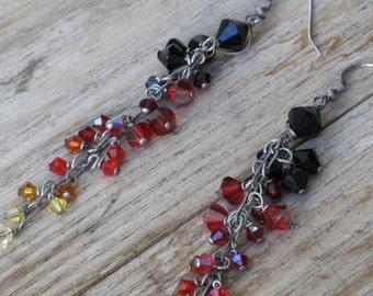 Ombre Crystal Earrings -  Festival, Graduation Gift, Fair, Burner