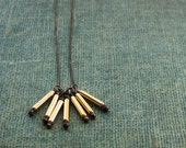 Gold Pins on Black Oxidized Sterling Chain Necklace