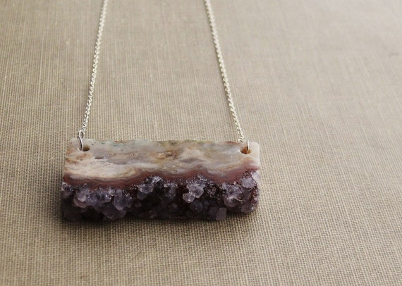 Slice of Heaven and/or Druzy Amethyst - Stunning Stone on Sterling Chain Necklace