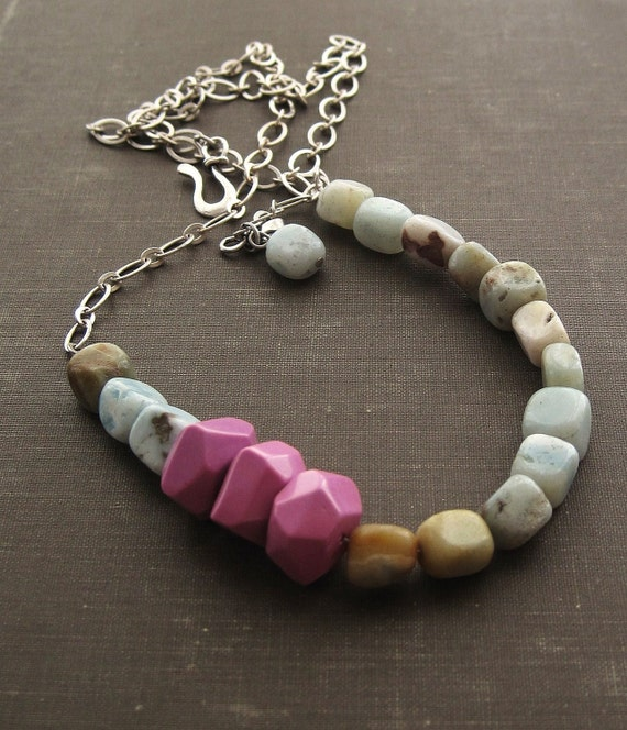 Mixed Gemstone and Chain Necklace - Long