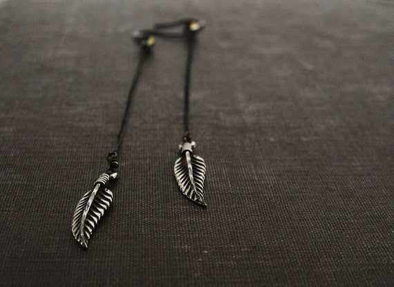 Feathers on Long Black Sterling Chain Earrings with Crystal Accent