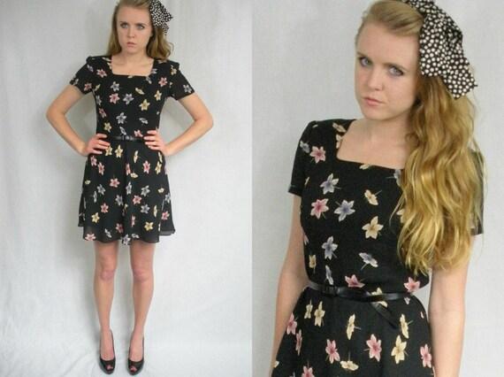 TWV Floral Collection - Black babydoll dress
