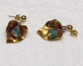 Glass Tulip and Brass Leaf Earrings