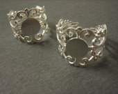 2PCS Detailed Filigree Ring Blank - 10mm Blank Pad - Silver Toned