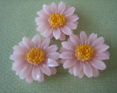 3PCS - New Spring Collection - Pink Daisy Flower Cabochons - 20mm - Jewelry Findings by ZARDENIA