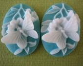 2PCS - Oval Butterfly Cameos - Blue - 25x18MM - Resin - Flat Back - Jewelry Findings by ZARDENIA