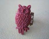 Burgundy Owl Ring - Antique Brass Adjustable Filigree Ring - Free US Shipping - Jewelry by ZARDENIA