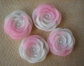 4PCS - Rose Flower Cabochons - 13mm - Resin - Pink and White - Cabochons by ZARDENIA