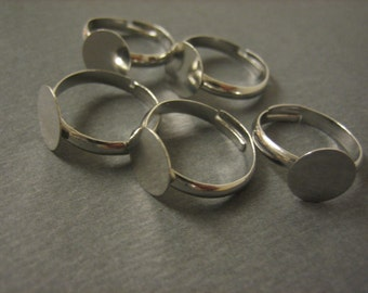 5PCS - Silver Toned Ring Blanks -  Adjustable - 10mm Pad - Jewelry Findings by ZARDENIA