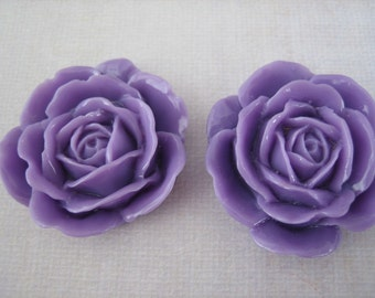 2PCS - Lavender Purple - Rose Cabochons - 38mm Glossy Finish - Great for Rings and Necklaces - Cabochons by ZARDENIA