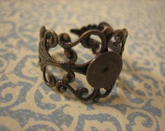 100PCS Adjustable Filigree Ring Blanks, 10mm Blank Pad, Antique Brass Filigree Ring Blanks by Zardnenia, Diy Craft Supplies