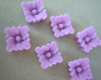 6PCS - Lilac Purple Buttercup Resin Flower Cabochons - 12mm - Matte Finish - From ZARDENIA