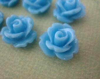 6PCS - Light Blue Mini Rose Resin Flower Cabochons 10mm