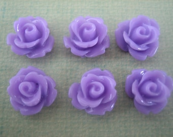 6PCS Lilac Purple Mini Rose Flower Cabochons, Resin Mini Roses, 10mm Mini Roses, Scrapbooking and Diy Jewelry Supplies