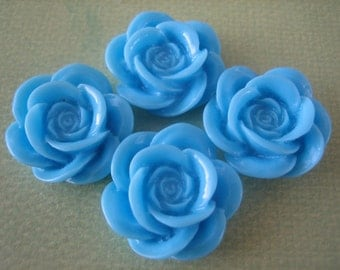 4PCS Light Blue Resin Rose Flower Cabochons, 18mm Cabochons, Crafts for Rings and Bobby Pins, Supplies by Zardenia