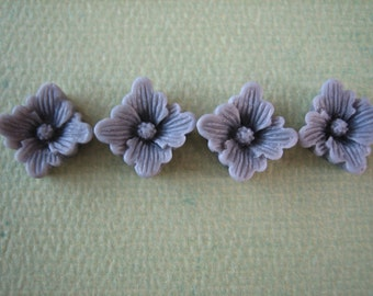 4PCS - Spring Collection - Gray - Buttercup Resin Flower Cabochons - 12mm - Matte Finish - Cabochons by ZARDENIA